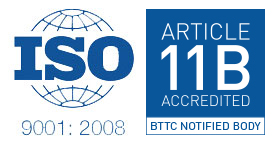 ISO 9001:2015 logo and BTTG Article 11B Notified Body logo